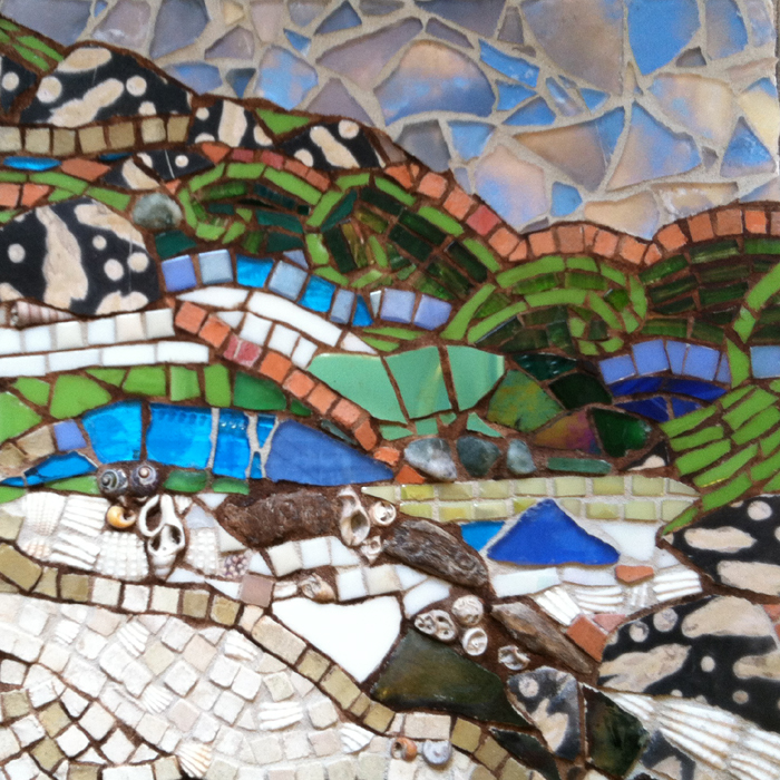 mosaic of beach scene