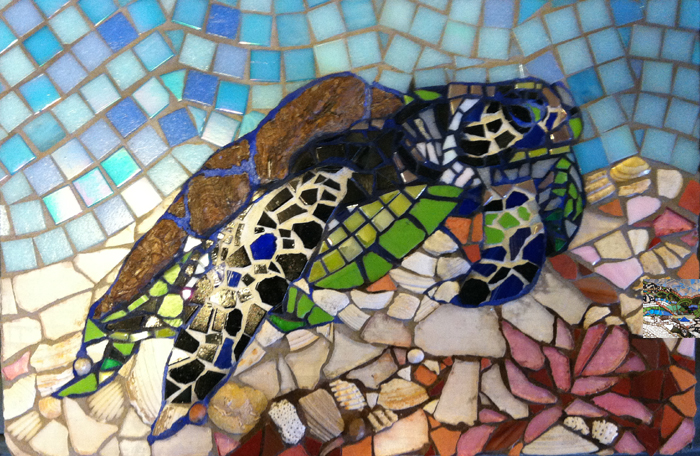 mosaic of a sea turtle