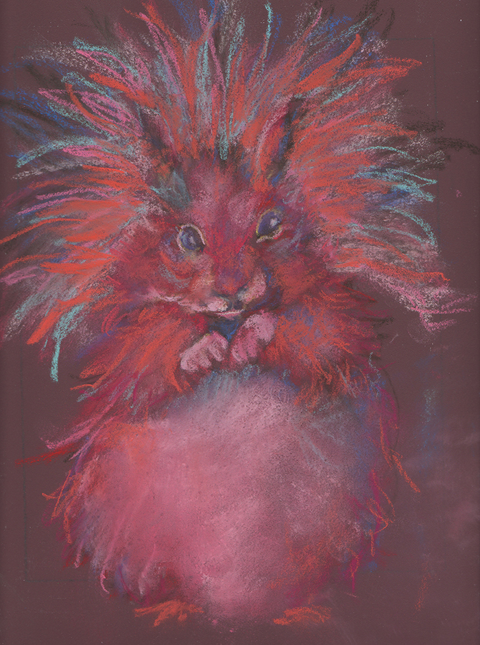 pastel painting of squirrel in red